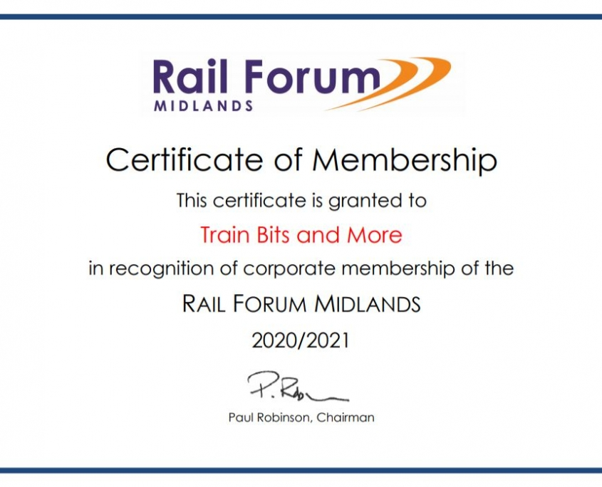 TBM is a member of Rail Forum Midlands